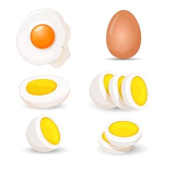 Ovos cozidos inteiros e pela metade, ilustração vetorial realista fresca e frita, isolada no fundo branco. produto orgânico saudável em casca de ovo, alimento cru comestível