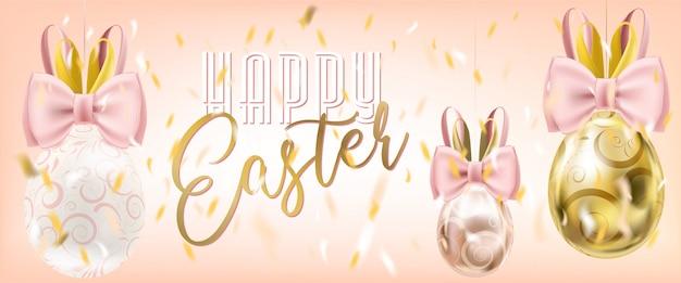 Ovos da páscoa bonitos com bunny bow nos confetes no fundo cor-de-rosa. cartaz de venda de páscoa