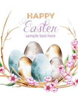 Ovos de azuis e amarelos em aquarela com coroa de flores de flor de primavera