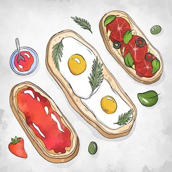 Ovos de comida reconfortante no pão
