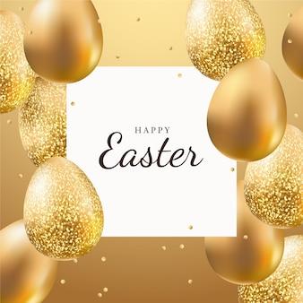 Ovos de estilo dourado para o dia de páscoa
