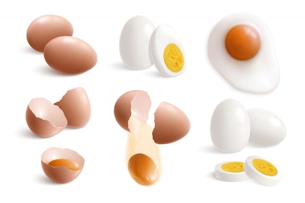 Ovos de galinha isolado conjunto realista com casca de ovo de ovos fritos cozidos e gemas ilustração em vetor