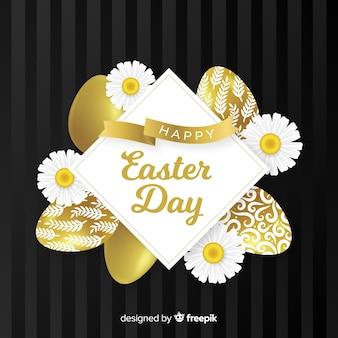 Ovos de ouro e margaridas fundo de dia de páscoa