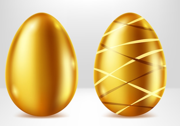 Ovos de ouro, presente de páscoa de metal realista