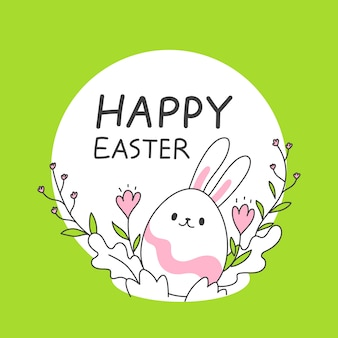 Ovos de páscoa bonitinho com orelhas de coelho em estilo de primavera, ilustração vetorial de linha simples e limpa