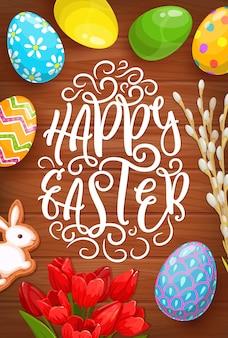 Ovos de páscoa, coelho e cartão de flores do feriado religioso