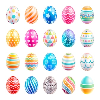 Ovos de páscoa coloridos com padrões diferentes