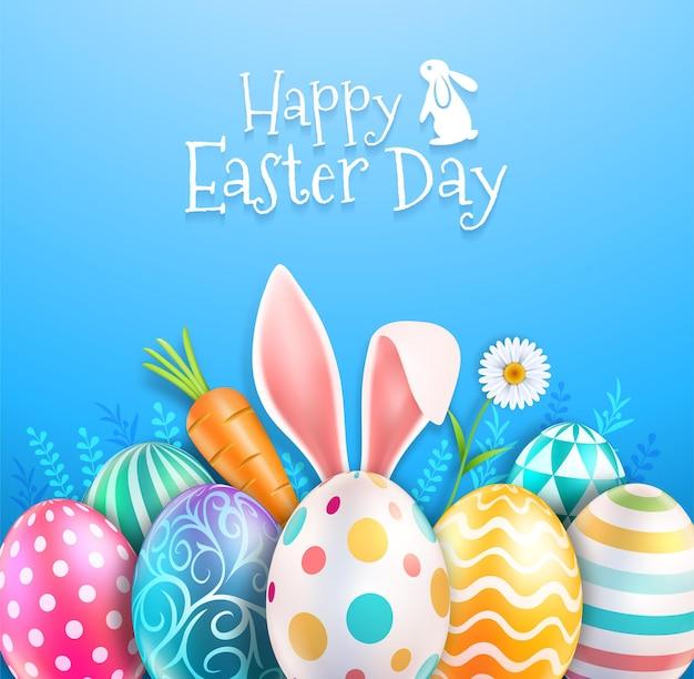 Ovos de páscoa coloridos e orelhas de coelho com flor de margaridas