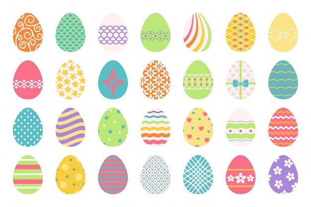 Ovos de páscoa coloridos ou ovos de cor ostern com ilustração de decoração
