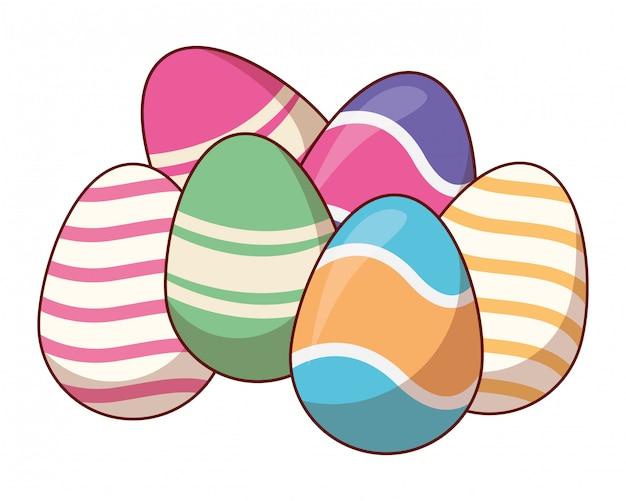 Ovos de páscoa coloridos pintados
