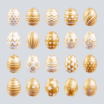 Ovos de páscoa com cores douradas e formas diferentes