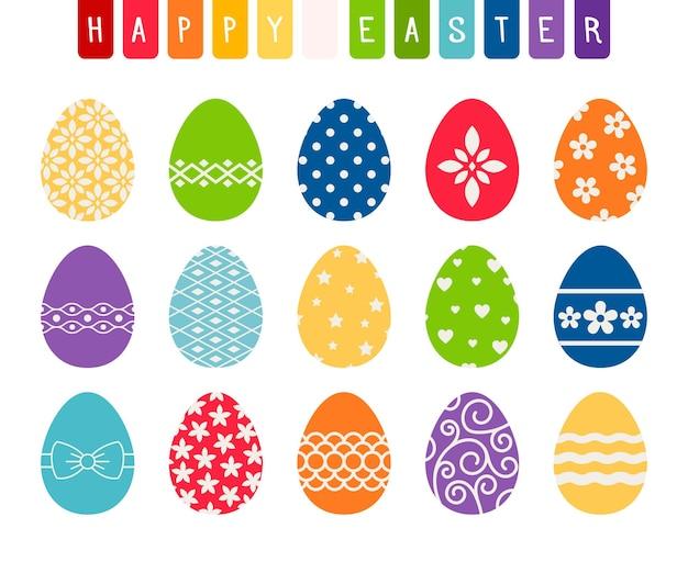 Ovos de páscoa com flores e vetores de padrões decorativos isolados no fundo branco