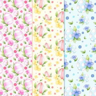Ovos de páscoa com folhas e flores em aquarela padrão