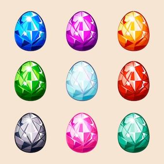 Ovos de páscoa de cristal colorido