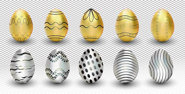 Ovos de páscoa de ouro e prata da coleção isolados em fundo transparente. ilustração