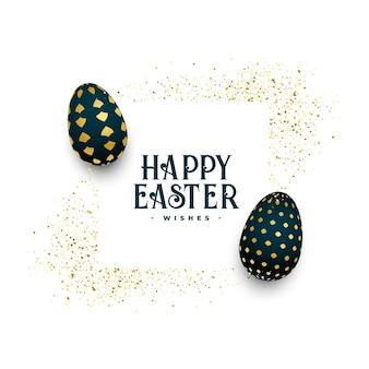 Ovos de páscoa de ouro felizes cumprimentando com glitter