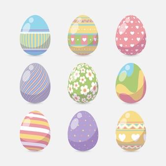 Ovos de páscoa design plano com design de primavera