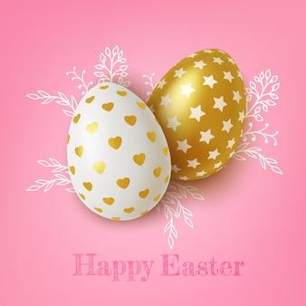 Ovos de páscoa dourados e brancos realistas com enfeites de coração e estrelas em fundo rosa