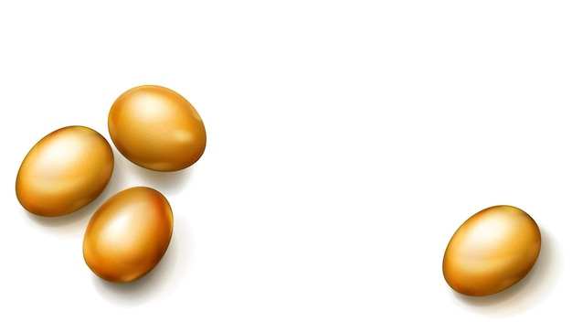 Ovos de páscoa dourados realistas com sombras no fundo branco Vetor Premium