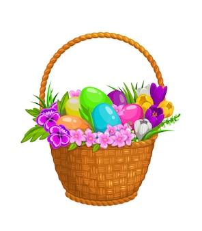 Ovos de páscoa e flores da primavera em uma cesta de vime, ícone isolado