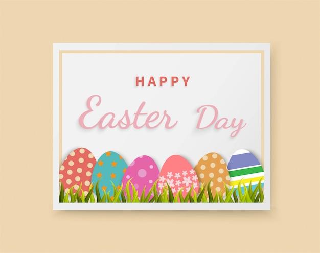 Ovos de páscoa em moldura quadrada, cartão de felicitações