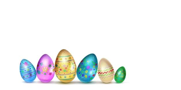Ovos de páscoa em várias cores com decoração colorida