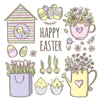 Ovos de páscoa engraçados, pássaros e buquês de flores, coleção desenhada à mão