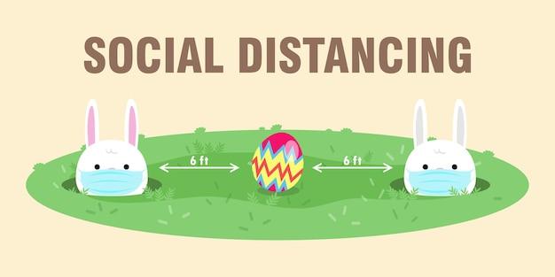 Ovos de páscoa felizes para novo distanciamento normal e social