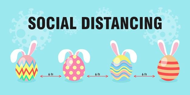 Ovos de páscoa felizes para um novo distanciamento normal e social protegem o coronavírus covid 19, ovos de páscoa bonitos e orelhas de coelho, estilo simples de personagem de desenho animado do dia da páscoa