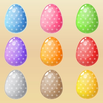 Ovos de páscoa muitos estilos em cores diferentes.