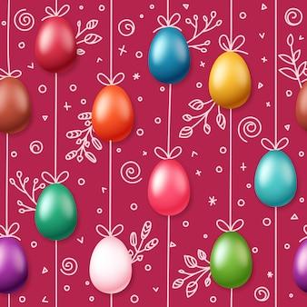 Ovos de páscoa na corda. padrão sem emenda magenta de férias