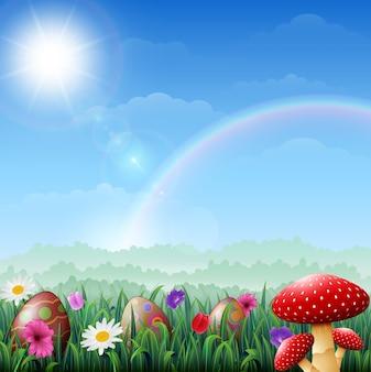 Ovos de páscoa na grama com flores e cogumelo vermelho