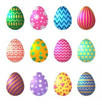 Ovos de páscoa no estilo cartoon. símbolos de celebração