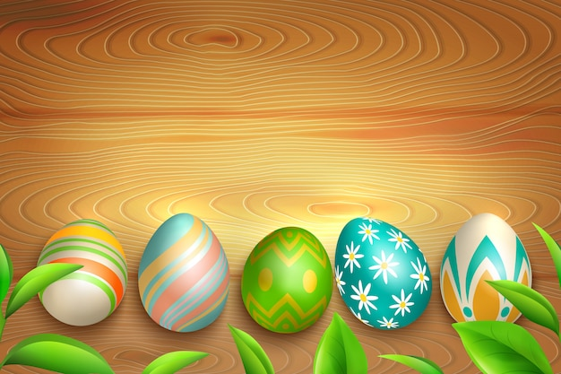 Ovos de páscoa no fundo de madeira