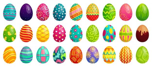 Ovos de páscoa, ovo de chocolate colorido de primavera, bonitos padrões coloridos e conjunto de desenhos animados de decoração feliz páscoa