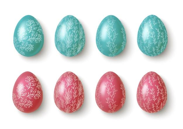 Ovos de páscoa rosa e azuis realistas com enfeites de flores