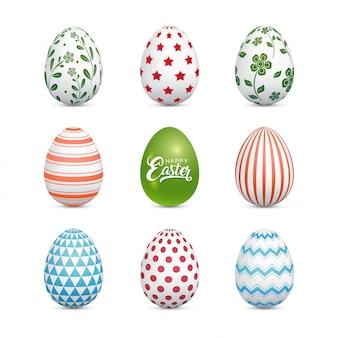 Ovos de páscoa sazonais celebração branco conjunto