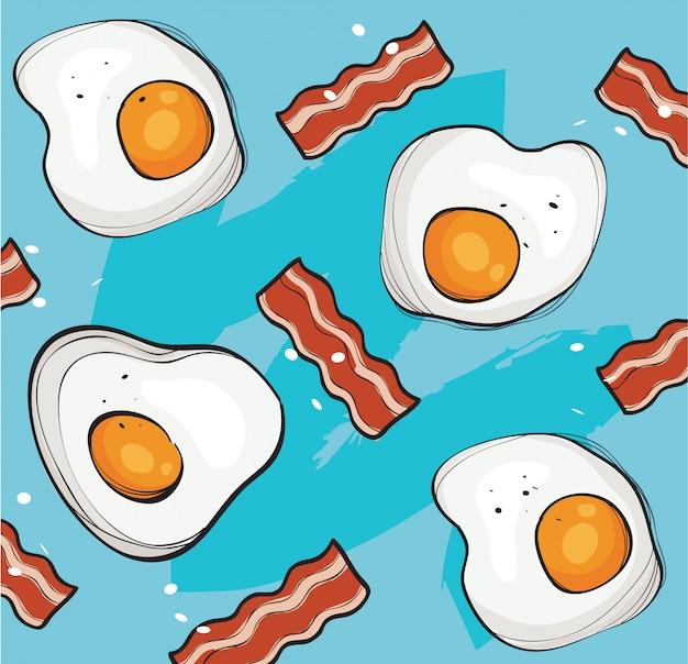 Ovos e bacon fundo vector