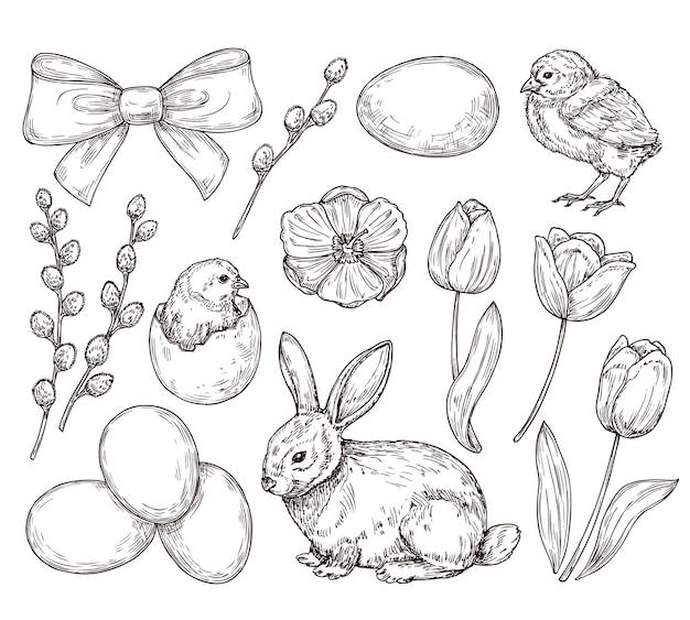 Ovos e frango. desenho de páscoa vintage.