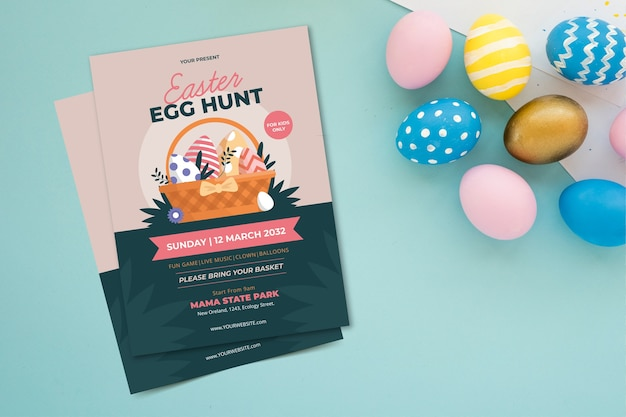 Ovos e panfleto de festa de páscoa vista superior