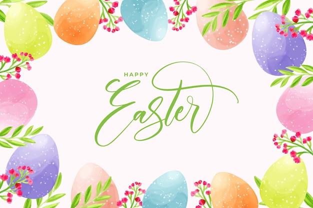 Ovos em aquarela para o dia de páscoa com letras