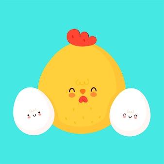 Ovos fofos e desenho de ícones de ilustração de frango