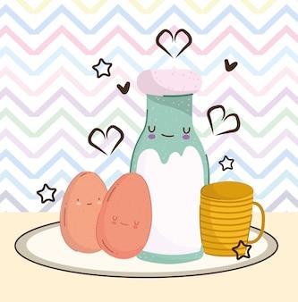 Ovos fofos, leite e xícara