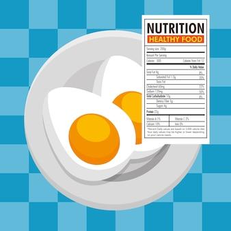 Ovos frieds com fatos de nutrição vector design ilustração