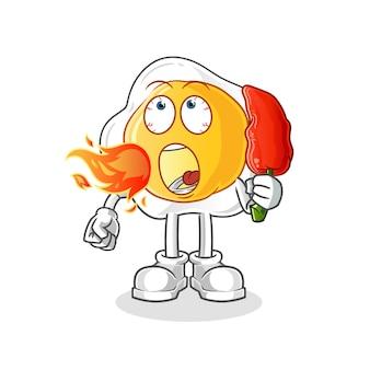 Ovos fritos comem mascote de pimenta quente. desenho animado