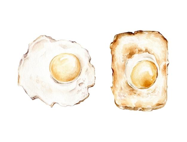 Ovos fritos. ilustração de aquarela.