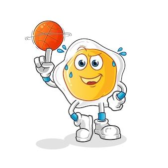 Ovos fritos jogando mascote da bola de basquete. desenho animado