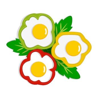 Ovos mexidos no pimentão com placa de folhas verdes, omelete, ilustração vetorial