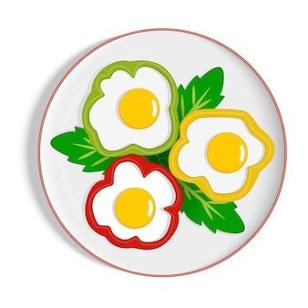 Ovos mexidos no pimentão com placa de folhas verdes, omelete, vetor