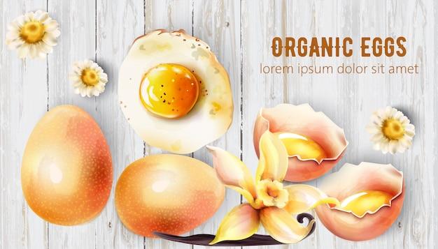 Ovos orgânicos em fundo de madeira